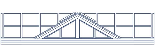 An architectural CAD drawing of a custom glass dormer roof