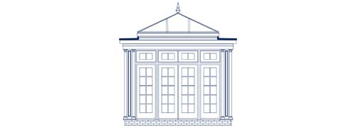 An architectural CAD drawing of a colonial orangery elevation