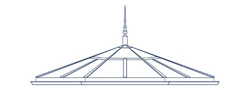 An architectural CAD drawing of a custom octagonal glass roof designed and engineered for a Victorian conservatory