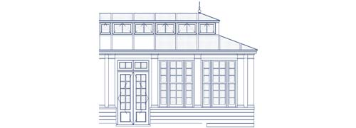 An architectural CAD drawing of a year-round glass addition with a complex glass roof system