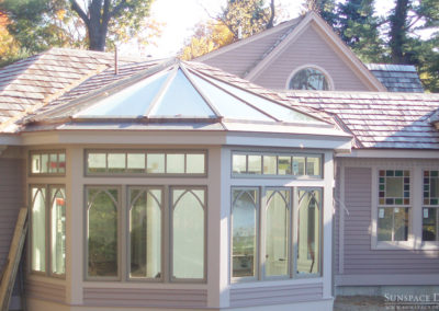 Outdoor view of a conservatory in Kittery Point, Maine