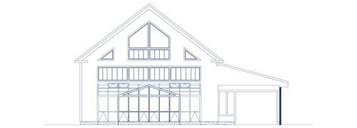 An architectural CAD drawing of a barn with a aluminum year-round greenhouse addition