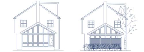 An architectural CAD drawing of two elevations of a custom family room addition and adjoining outdoor patio and deck with privacy screening