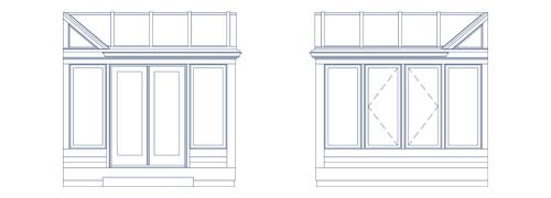 An architectural CAD drawing depicting two sides of a contemporary glass conservatory