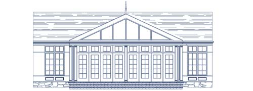 An architectural CAD drawing of a large swimming pool enclosure with a glass roof system and tall windows