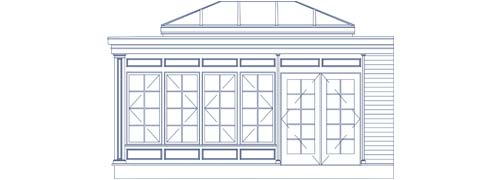 An architectural CAD drawing of an orangery with large windows, patio doors, and a custom glass roof