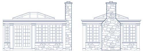 An architectural CAD drawing of two elevations of a custom family room project with tall windows, a glass roof, and fireplace
