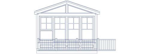 An architectural CAD drawing of a glass sunroom with a gable roof and access to a wraparound deck