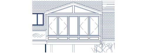 An architectural CAD drawing of a raised lakeside sunroom with standard wall framing, tall insulated windows, and a stately gable-style glass roof