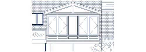 Architectural blueprint of the gable-style grandeur sunroom in Stoneham, Massachusetts