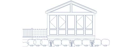 An architectural CAD drawing of a contemporary sunroom addition with direct access to a backyard deck