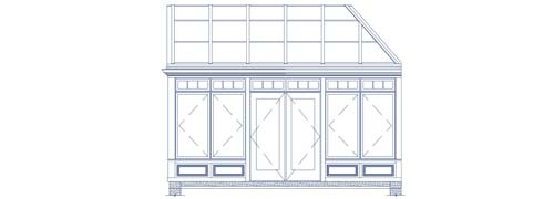 An architectural CAD drawing of a a traditional conservatory with tall windows and doors