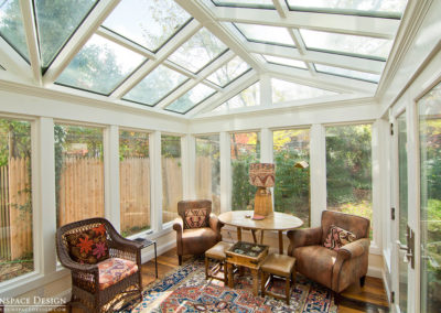 View of Backyard Through Glass Conservatory Windows