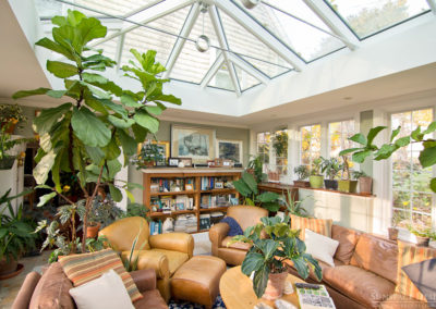 Inside view of a sunroom and skylight in Newbury, Massachusetts 2
