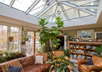 Inside view of a sunroom and skylight in Newbury, Massachusetts