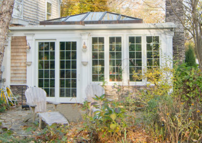 Outside view of a sunroom and skylight in Newbury, Massachusetts