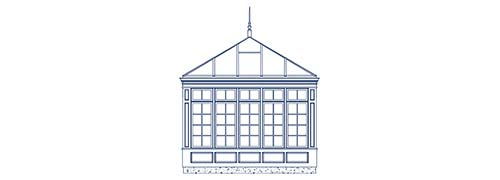 An architectural CAD drawing of a custom glass conservatory with an angular, vaulted glass ceiling