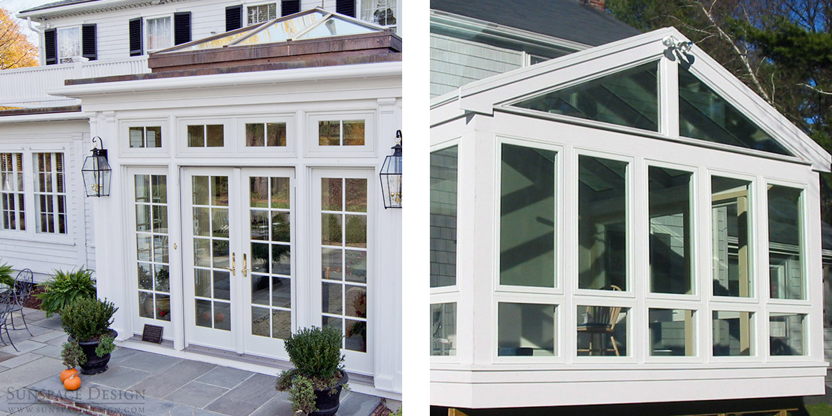 A split photograph depicting a traditional conservatory (left) and a contemporary sunroom (right)