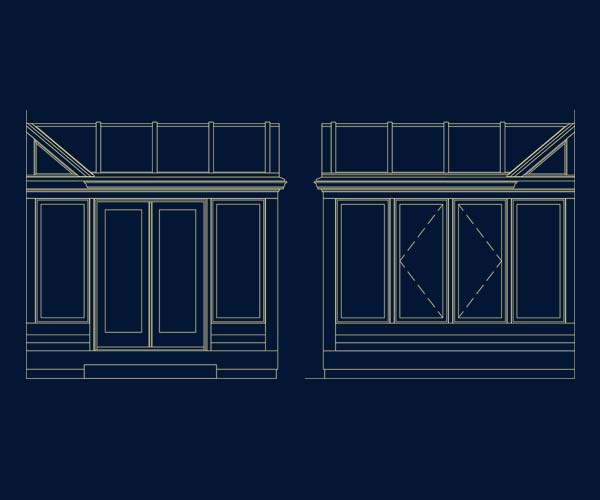 Architectural drawings of a Sunspace Design glass conservatory located in Cambridge, Massachusetts