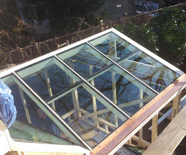 Fresh panes of high performance glass have been added to the glass roof frame
