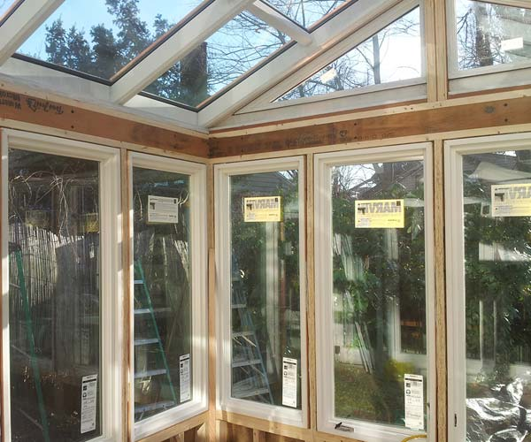 An interior view of the conservatory in the hours before trim work is set to begin