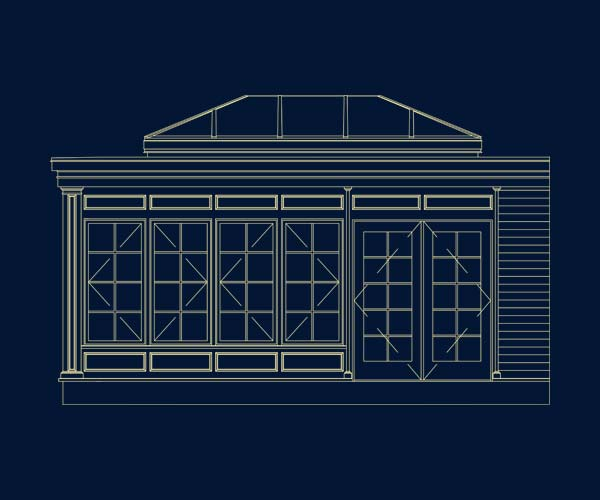 An architectural drawing of a new orangery-style space with a custom skylight and kitchen renovation to be completed in Medfield, Massachusetts
