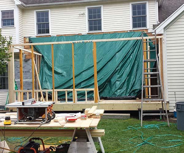 The Sunspace Design field team has begun work on the exterior wall frame