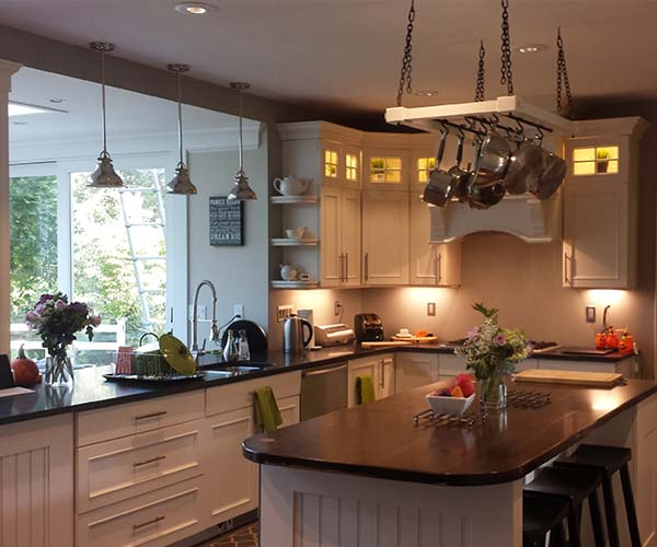 A photo of the completed kitchen renovation showing off the master craftsmanship of Sunspace Design