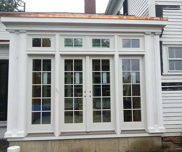 The exterior woodwork of the orangery has been painted white and more detailed painting can soon begin