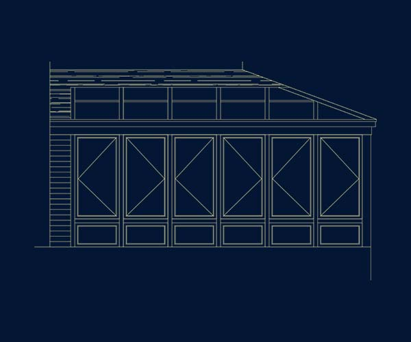 Architectural drawing of a sunroom to be added to this Dover, Massachusetts residential deck space