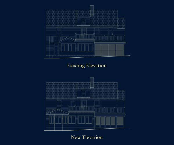 Architectural drawings of existing and new elevations for a kitchen extension project to be completed in Belmont, Massachusetts
