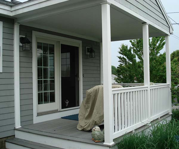 "A ""before"" photo of the side of this York, Maine client's open concept porch taken immediately before renovation begins"