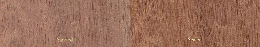 The grain of sapele mahogany, with a sanded panel on the left and a sealed panel on the right