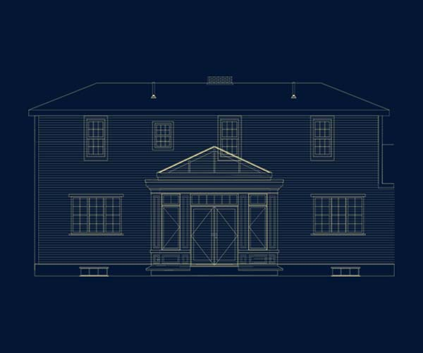 An engineered structural drawing of a York, Maine residence that has had a custom Sunspace Design glass conservatory added