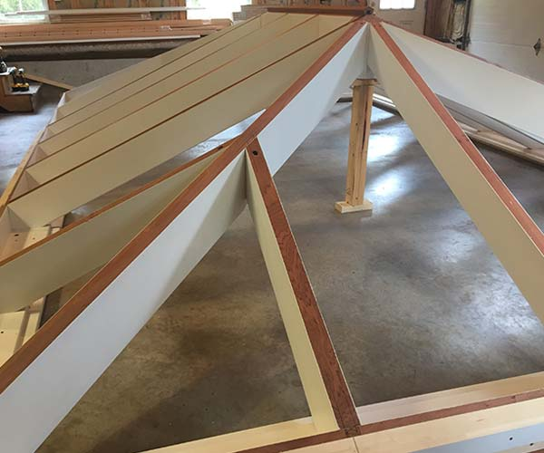 A photo of the completed conservatory roof frame that will be transported to the project site