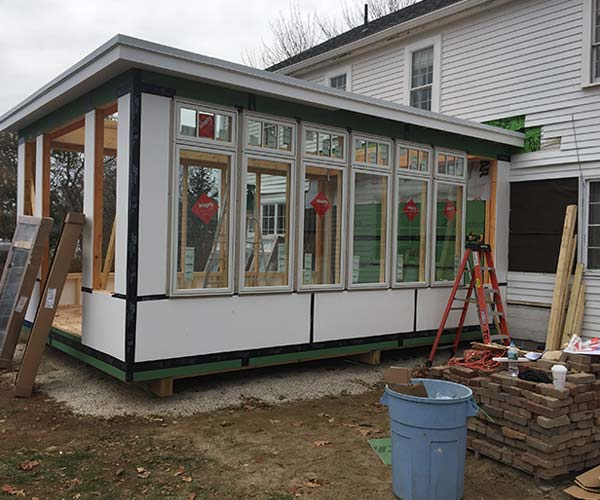 A photo of finished conservatory framing on a new project located beside the Cape Neddick River in York, Maine
