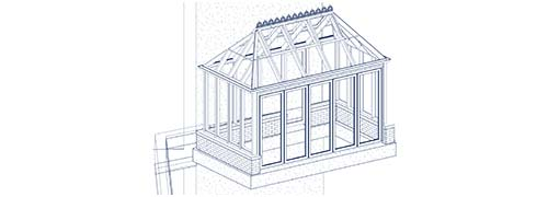 An architectural CAD drawing of a custom Victorian greenhouse design with a decorative ridge crest