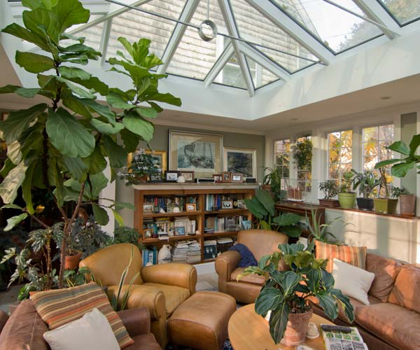 A lovely family room decorated with plants and featuring a bright double-hip skylight above