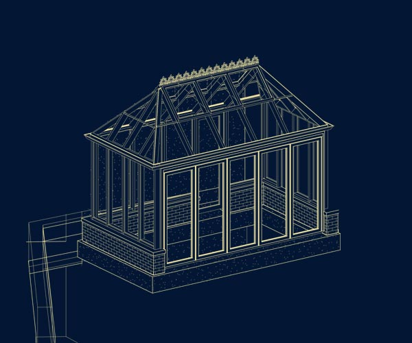 An engineered architectural blueprint of a custom Sunspace Design greenhouse with advanced automation features like remote controlled ridge vents