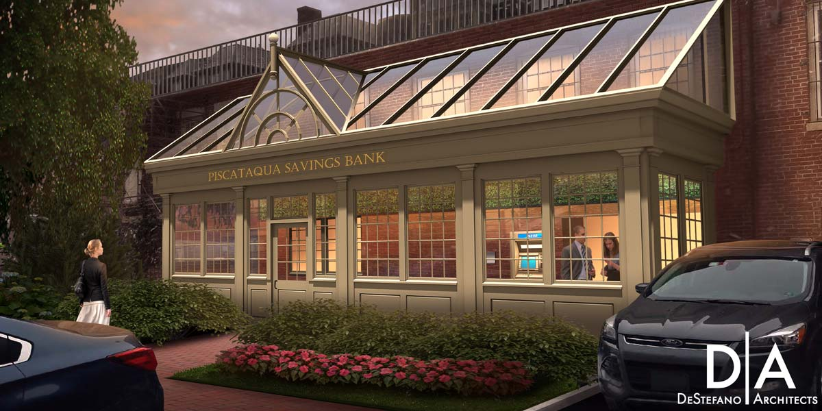 An artist's rendering (provided by DeStefano Architects) featuring the exterior of a bank's planned entryway complete with an elegant glass roof system