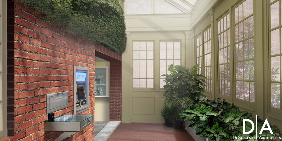 An artist's rendering provided by DeStefano Architects which depicts shafts of light entering a bank's new entryway via an elegant glass roof and skylight system