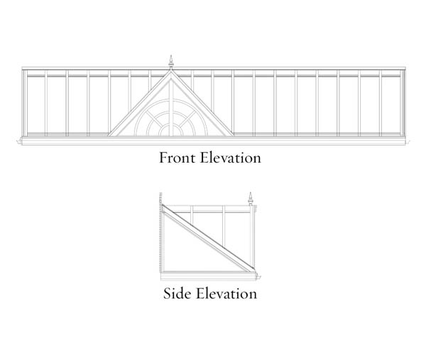 An engineered CAD drawing depicting a front and side elevation of a new Sunspace Design skylight and glass roof system