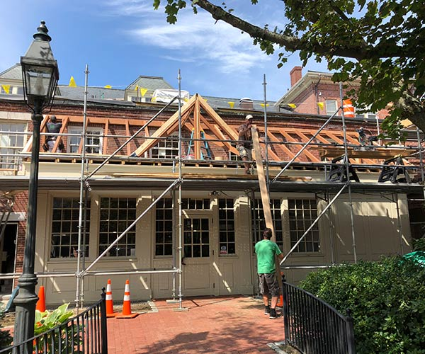 Another view of the renovation project which provides a good look at the existing entrance to the Piscataqua Savings Bank