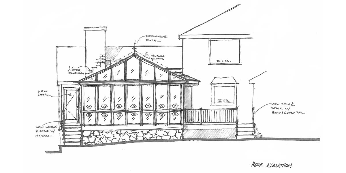 A hand-drawn sketch of the rear elevation of a new glass conservatory being designed and planned by Sunspace Design for installation in Hamilton, Massachusetts