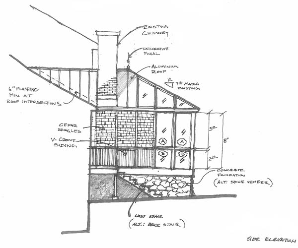 A hand-drawn sketch of the side elevation of and entry stairway for a new custom glass conservatory