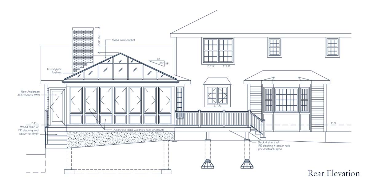 An architectural CAD drawing showing the precisely engineered specifications for the rear elevation of a Sunspace Design custom glass enclosure