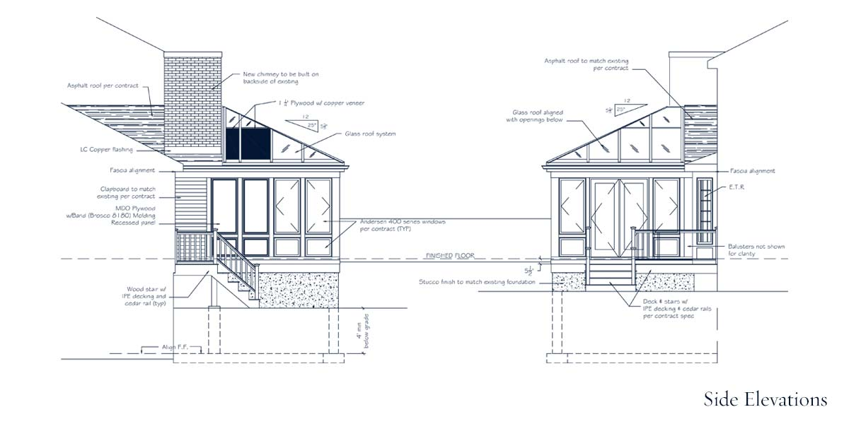 A fully engineered CAD drawing depicting the side elevations of a custom glass conservatory that is part of a larger set of engineered drawings for building permit submission