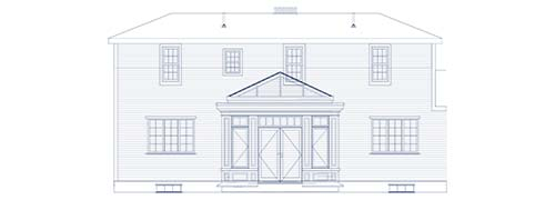 An architectural CAD drawing of a custom conservatory addition located centrally to the rear of large home