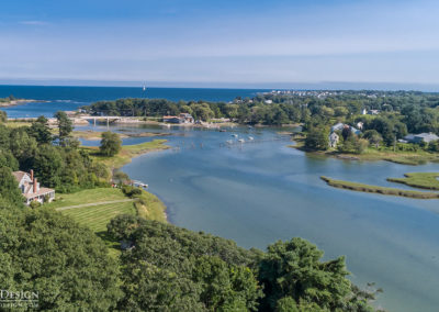 An overhead view of the winding Cape Neddick River; Sunspace Design has developed gorgeous custom glass projects in this area